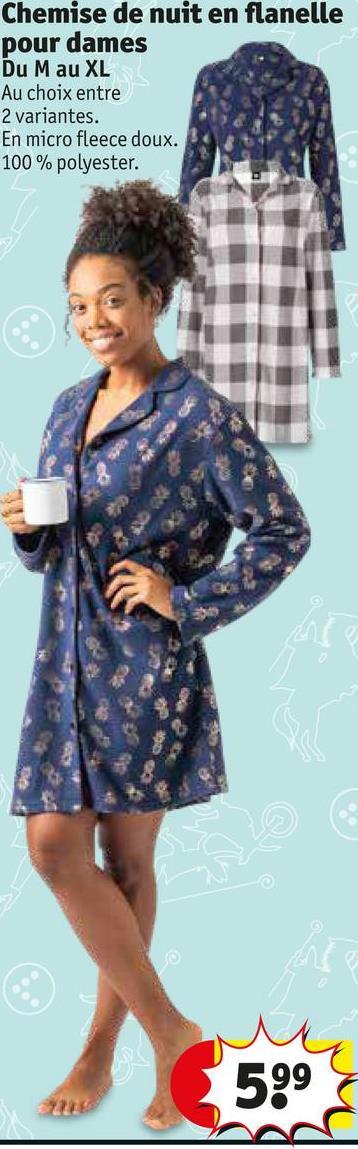 Chemise de nuit en flanelle pour dames Du Mau XL Au choix entre 2 variantes. En micro fleece doux. 100% polyester. 599