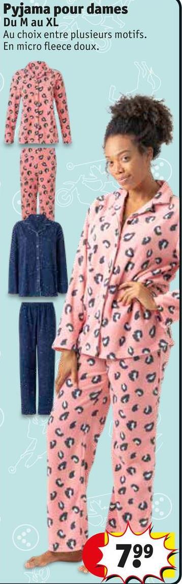 Pyjama pour dames Du Mau XL Au choix entre plusieurs motifs. En micro fleece doux. 799
