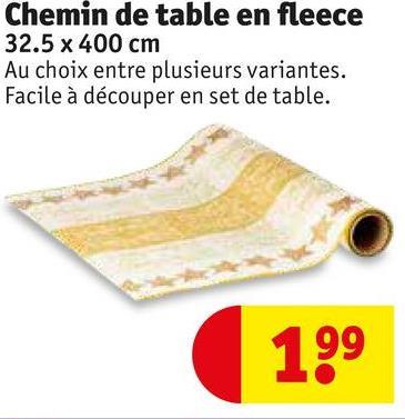 Chemin de table en fleece 32.5 x 400 cm Au choix entre plusieurs variantes. Facile à découper en set de table. 199