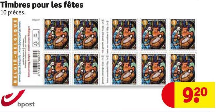 BELGIE BELGIQUE www .bari www .be/ bpost 0.08345 10 pièces. Timbres pour les fêtes 920