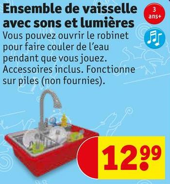 ans+ Ensemble de vaisselle avec sons et lumières Vous pouvez ouvrir le robinet pour faire couler de l'eau pendant que vous jouez. Accessoires inclus. Fonctionne sur piles (non fournies). Wits 1299