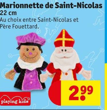 Marionnette de Saint-Nicolas 22 cm Au choix entre Saint-Nicolas et Père Fouettard. 299 playing kids