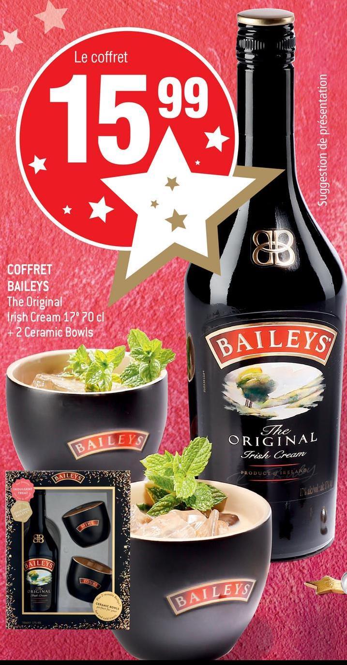Le coffret Suggestion de présentation COFFRET BAILEYS The Original Irish Cream 17° 70 cl + 2 Ceramic Bowls BAILEYS BAILEYS - The ORIGINAL Irish Cream PRODUCT HELAKO elian SAILEYS YOURS ORIGINAL BAILEYS