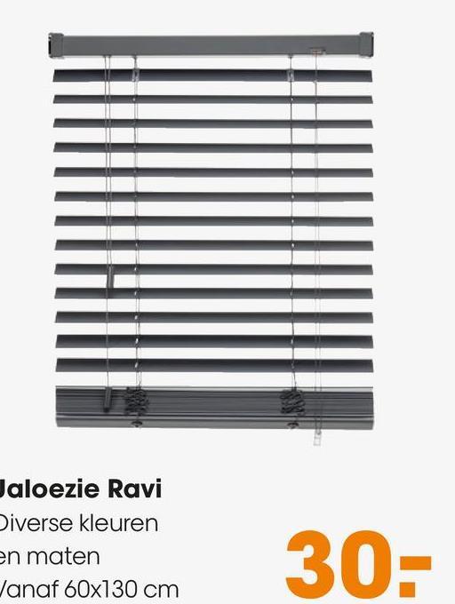 Jaloezie Ravi Wit Kunststof jaloezie met mat gelakte houtuitstraling en stoer design. Ideaal voor het regelen van licht en privacy. 50 mm per strook. Eenvoudig zelf te monteren aan wand of plafond. Met vochtige doek te reinigen. Incl. schroeven, pluggen, montagesteunen, kindveiligheidsclip en montagehandleiding.