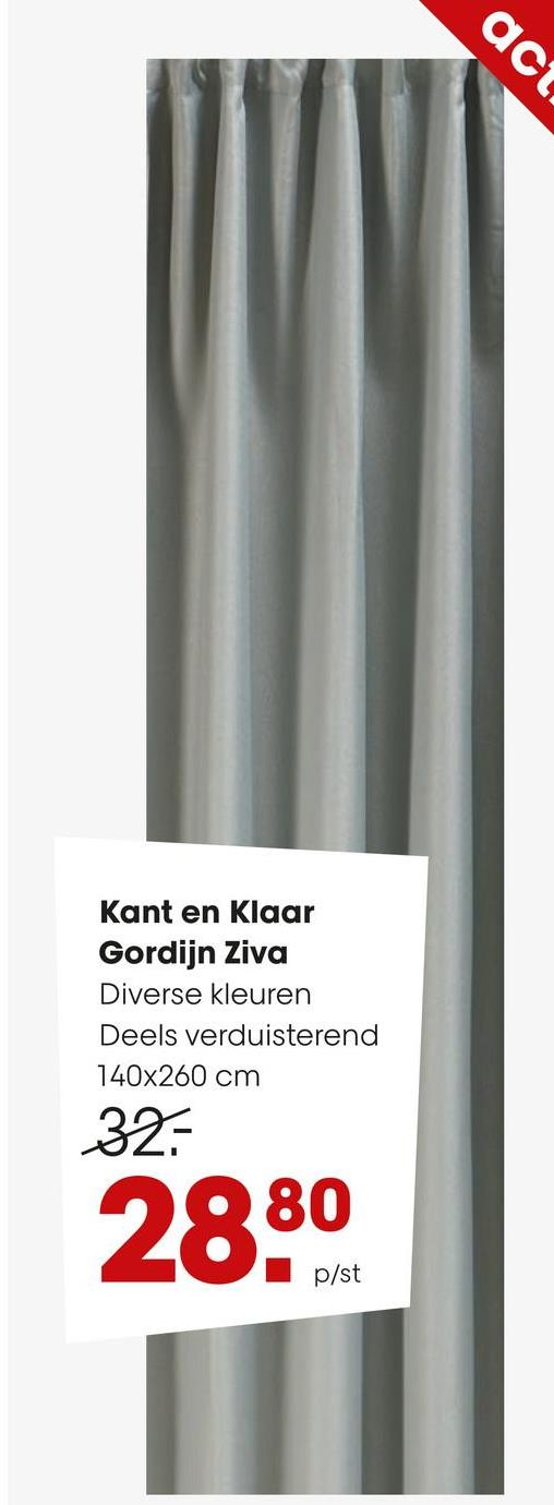 Kant en Klaar Gordijn Ziva Groen Kant en klaar gordijn Ziva van stevige maar soepele stof. Afmeting: 140x260 cm (bxh). Kleur: groen.