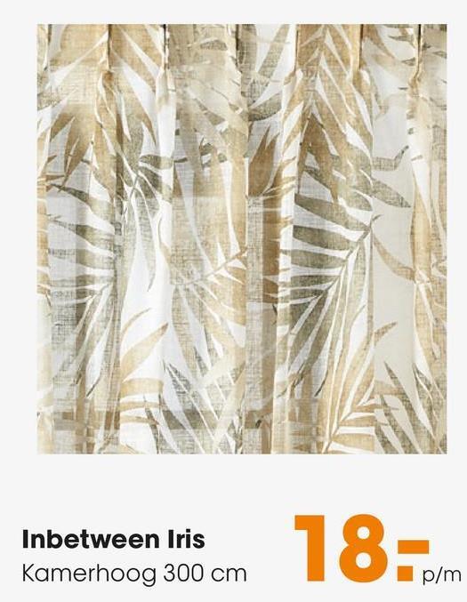 Inbetween Iris Groen Inbetween met bladeren print. Luchtig, luxe en sterk. 298 cm hoog.