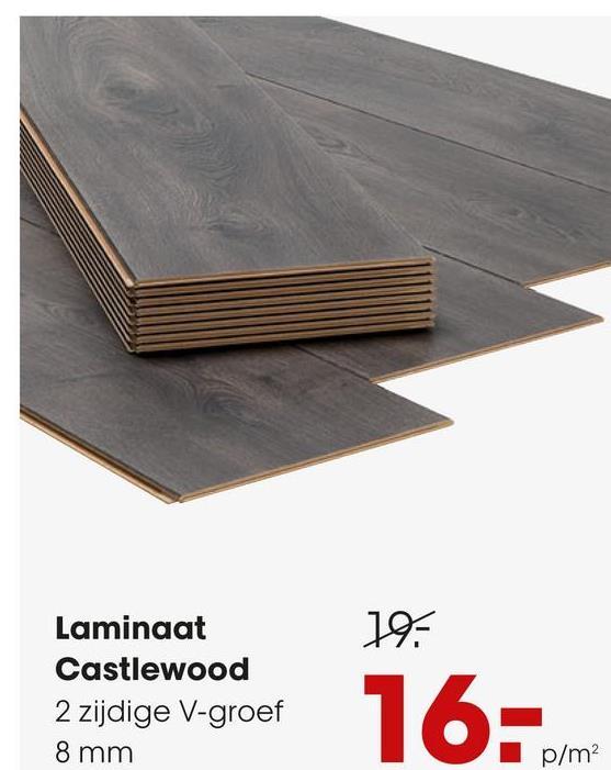 Laminaat Castlewood Antraciet Sfeervol 8 mm laminaat Castelwood met 2-zijdige V-groef. Inhoud per pak: 2,46 vierkante meter. Kleur: antraciet.