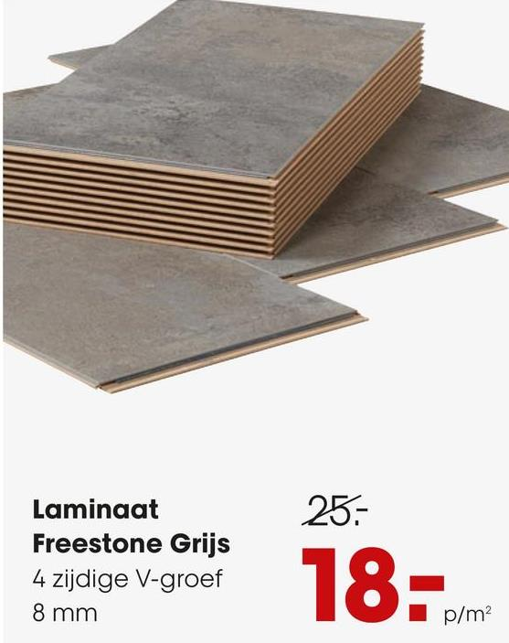 Laminaat Freestone Grijs Laminaat grijs met steenlook en 4-zijdige V-groef. Geschikt voor intensief woongebruik en normaal commercieel gebruik. Voorzien van het PEFC keurmerk. 8 mm dik.
