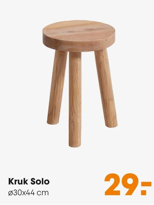 Kruk Solo Moderne kruk van hout. 30x44 cm (dxh).