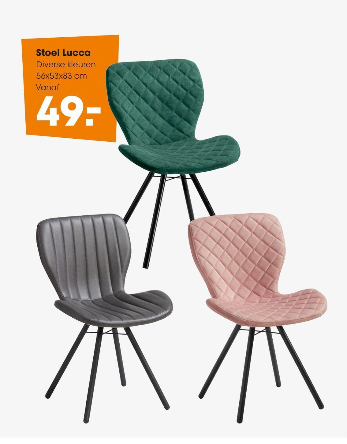 Stoel Lucca Grijs Comfortabele stoel grijs met zwart metalen onderstel. 53x56x83 cm (lxbxh).