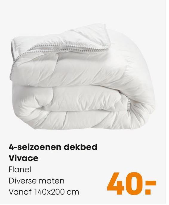4 Seizoenen Dekbed Vivace 3-in-1 warmte-regulerend dekbed, koel tot midden warm. Geschikt voor een 1-persoons bed. Zachte tijk van 100% microvezel. Anti-allergisch en absorveerd en transporteerd vocht. Het dekbed is wasbaar op 40 graden. 200x140 cm (lxb).
