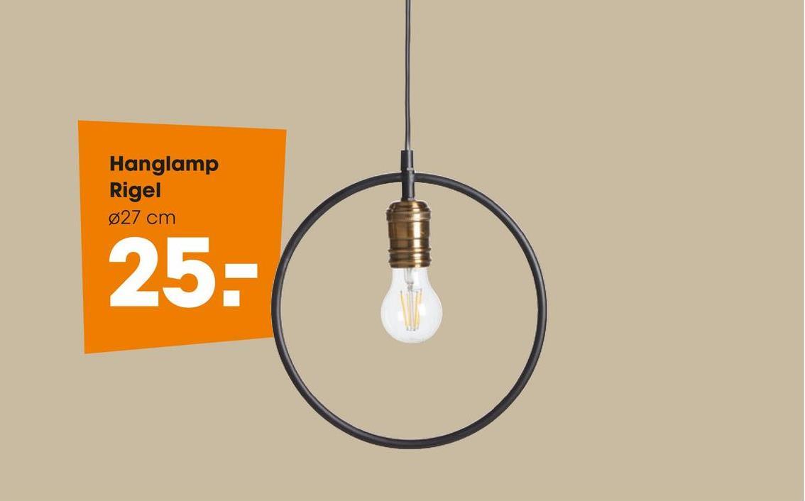Hanglamp Rigel Zwart Subtiele hanglamp van metaal. Grote fitting E27. Excl. lamp.