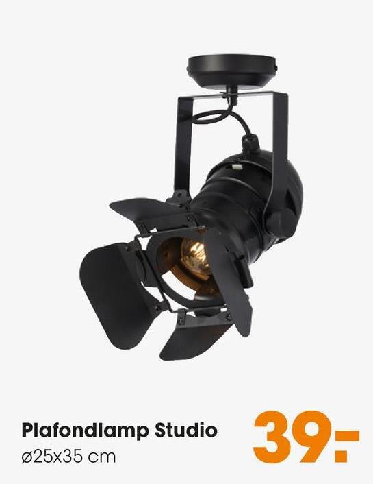 Plafondlamp Studio Zwart Plafondlamp in de vorm van een studio spot. Grote fitting E27.