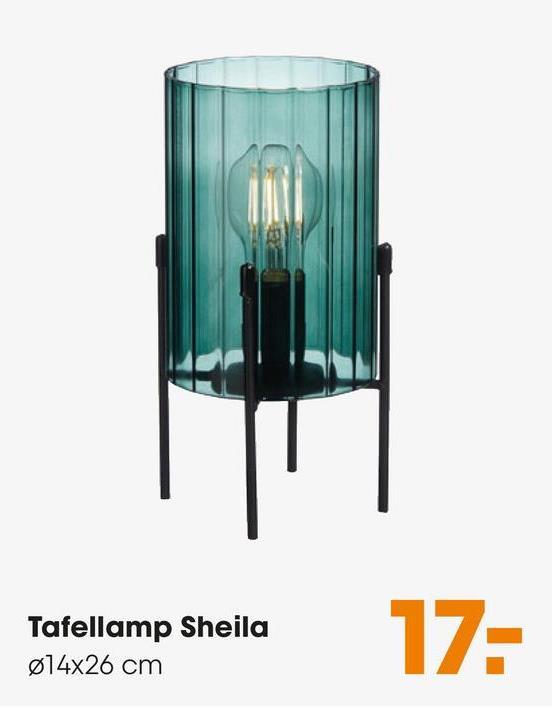 Tafellamp Sheila Groen Tafellamp van sfeervol zeegroen glas in een zwart metalen frame. Grote fitting E27. 26 cm hoog.