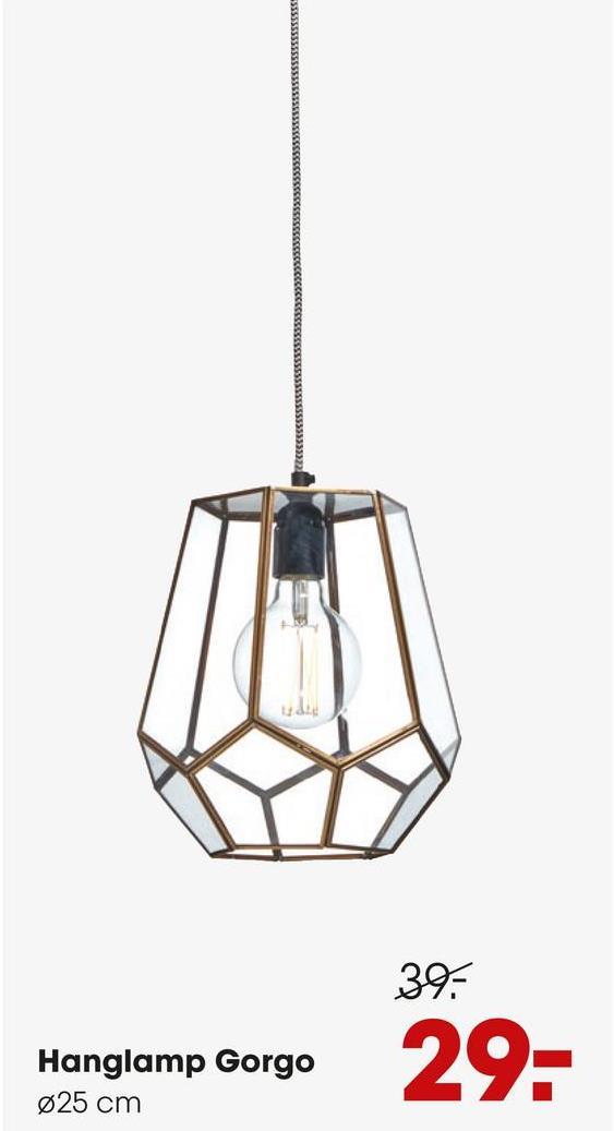 Hanglamp Gorgo Helder Hanglamp met hoekige glazen kap. Grote fitting E27.