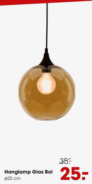 Hanglamp Glas Bol Goud Moderne goud kleurige hanglamp met glazen bol.