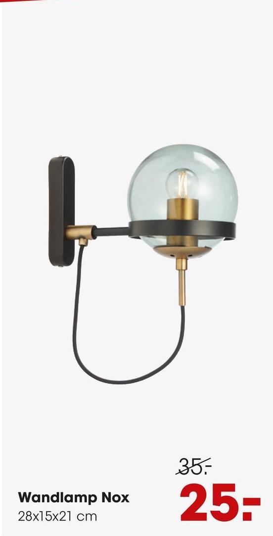 Wandlamp Nox Zwart Stoere wandlamp met mat zwart frame, goudkleurige accenten en glazen bol. Grote fitting E27. 28 cm lang.