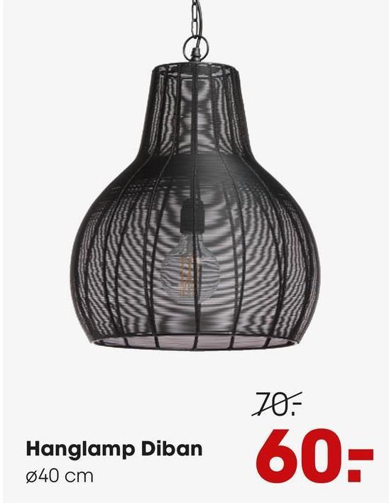 Hanglamp Diban Zwarte hanglamp met opengewerkte structuur. Grote fitting E27. 50 cm hoog.