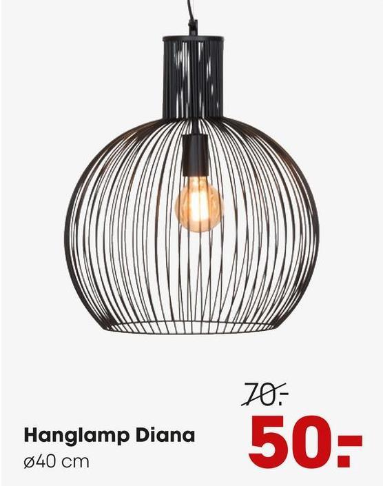 Hanglamp Diana Zwart Hanglamp met zwarte kap van draad metaal. Energieklasse A++E. Grote fitting E27.