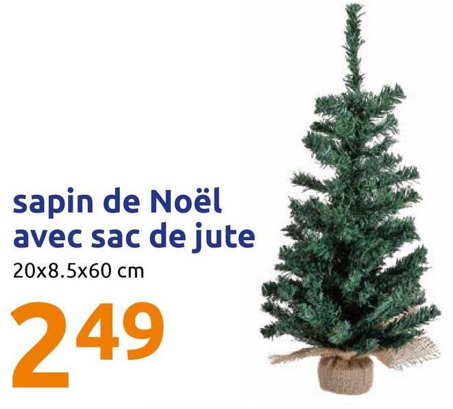 sapin de Noël avec sac de jute 20x8.5x60 cm 249