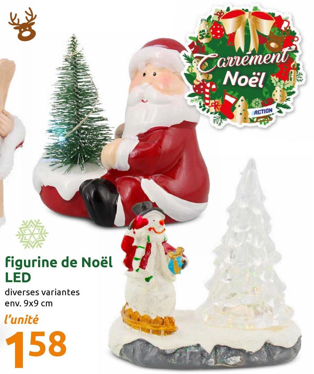 Tarrément Noël ACTION figurine de Noël LED diverses variantes env. 9x9 cm l'unité 158