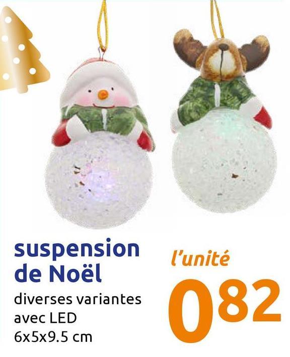 P suspension de Noël diverses variantes avec LED 6x5x9.5 cm ** 082