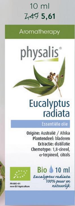 Physalis Citroen Eucalyptus Olie Bio (10ml) <ul><li>Pure citroen eucalyptus olie</li> <li>Botanisch en biochemisch gedefinieerd </li> <li>Geschikt voor in- en uitwendig gebruik</li></ul>  Physalis Echte Citroen Eucalyptus Olie is een 100% pure en natuurlijke essentiële olie die bekend staat vanwege de ontspannende en kalmerende geur. Je kan de olie uitwendig gebruiken en met honing innemen.