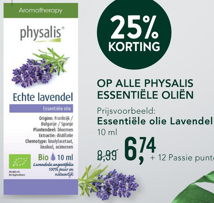 Physalis Lavendel Echte Bio <ul><li>100% pure, natuurlijke en biologische lavendel olie </li> <li>De geur werkt kalmerend en ontspannend</li> <li>Ook geschikt voor inwendig gebruik </li></ul>   Physalis Lavendel is een 100% pure en natuurlijke essentiële olie met kalmerende en ontspannende geur. De olie wordt door middel van distillatie gewonnen uit de bloeiende bovengrondse delen van het kruid en is botanisch en biochemisch gedefinieerd. <br><br>   Deze essentiële olië kan ingenomen worden met honing of je kan het op allerlei manieren uitwendig gebruiken, zoals in bad of als ingrediënt in huidverzorging.