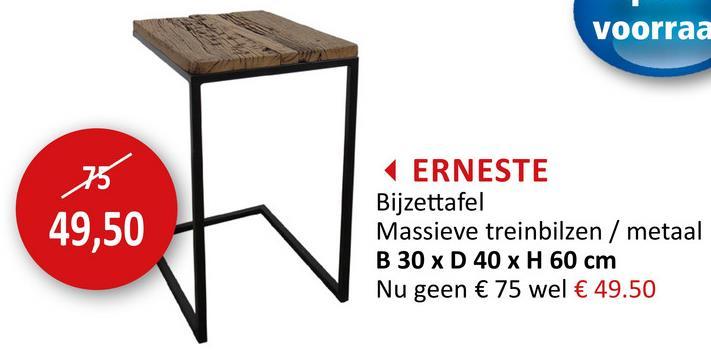 Bijzettafel Erneste 40x30cm Bijzetmeubelen Bijzettafels