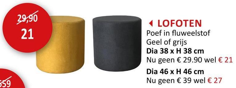 Poef Lofoten  Ø38cm stof geel Zitmeubelen Poefs & Voetenbankjes
