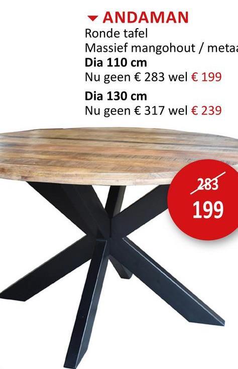 Ronde tafel Andaman Ø130cm Tafels Eettafels Keukentafels Keukentafels