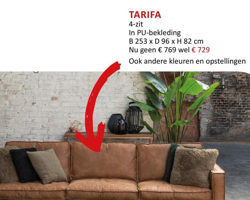 Zetel Tarifa 4-zit bruin Zitmeubelen Zetels