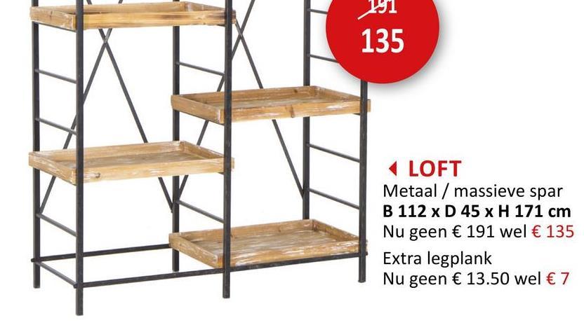 Opbergrek Loft 112x45x171cm Rekken Rekken & Planken Bijzetmeubels Opbergers  Rek En Plank Rekjes En Planken Rekken & Planken