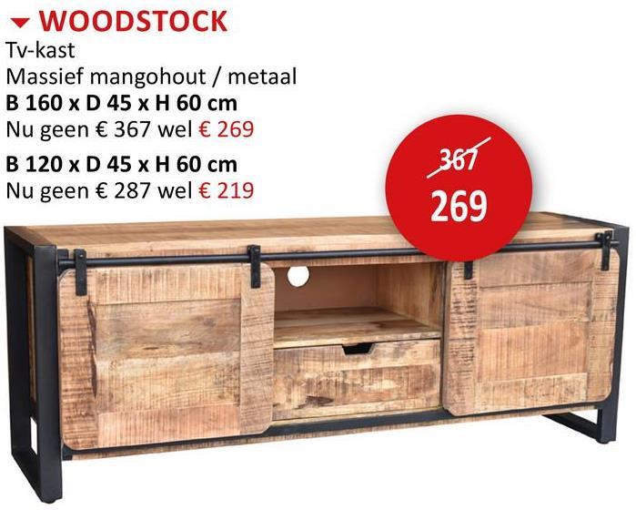 TV-meubel Woodstock 160cm Bijzetmeubelen TV-meubels Eetkamerkasten