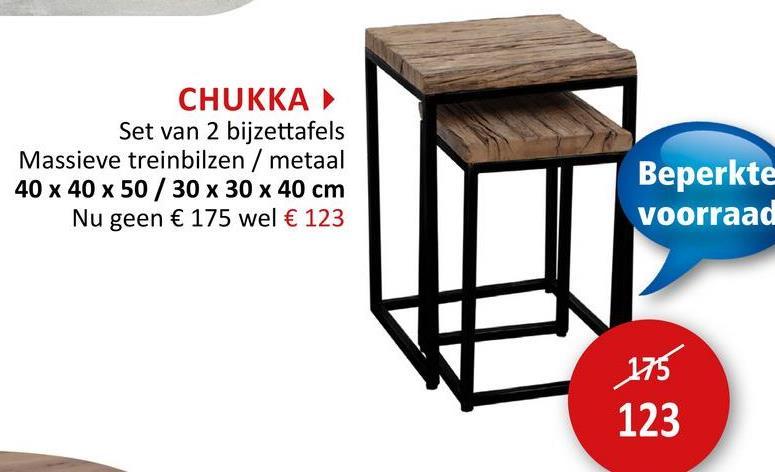Bijzettafel Chukka 40x40cm/30x30cm, set van 2 Bijzetmeubelen Bijzettafels