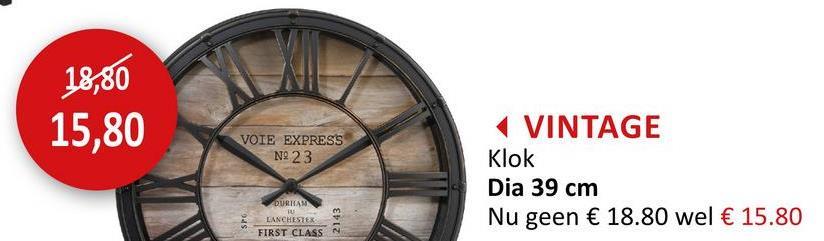 Wandklok Vintage Ø39cm Decoratie Klokken Wanddecoratie