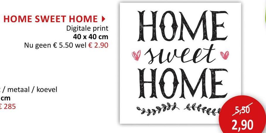 Doek met print Home Sweet Home 40x40cm Wanddecoratie Foto Op Canvas