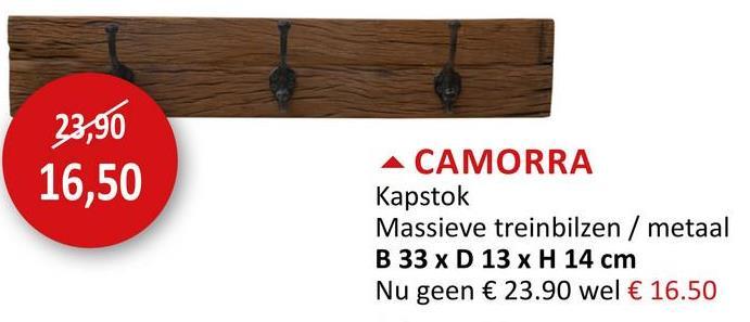 Kapstok Camorra 33cm Keukenaccessoires Wandkapstokken Haak & Hang Kapstokken