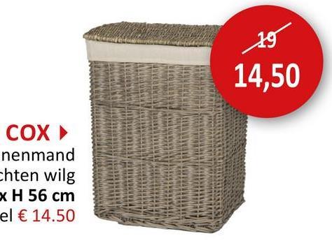 Linnenmand Cox 45x33x56cm bruin Kleine Opbergers Linnenmanden Wassen & Schoonmaak Kleinere Opbergers Badkamer Opbergers