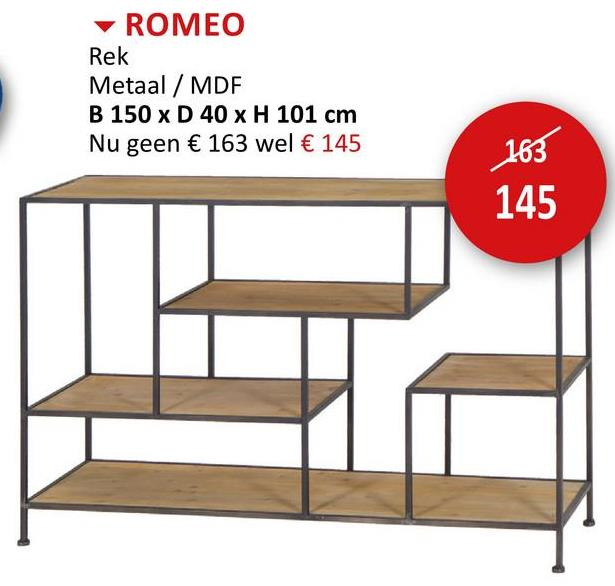 Opbergrek Romeo 150x40x101cm Rekken Rekken & Planken Bijzetmeubels Opbergers  Rek En Plank Rekjes En Planken Rekken & Planken