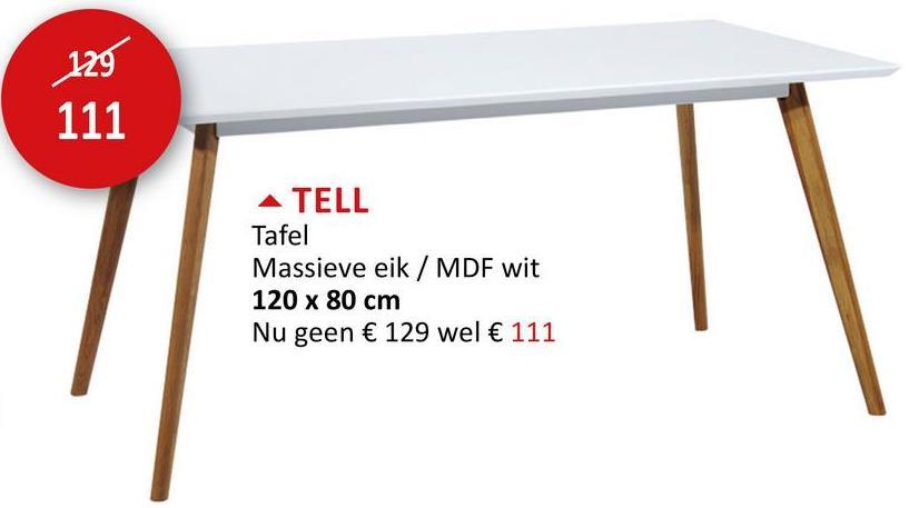 Tafel Tell 120x80cm wit Tafels Eettafels Keukentafels Keukentafels