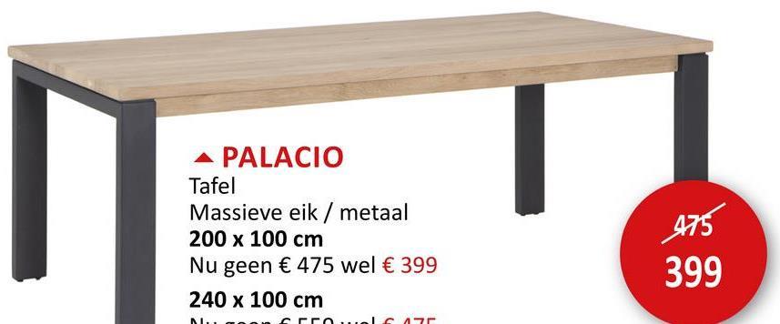 Tafel Palacio 200x100cm Tafels Eettafels