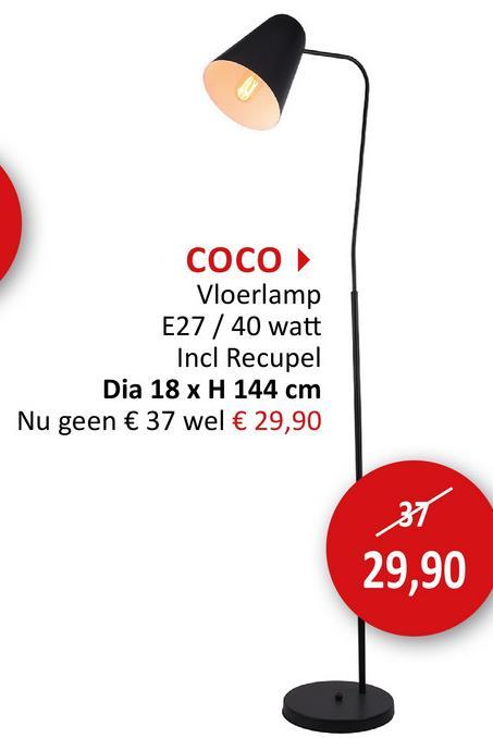 Staande lamp Coco H144cm Staanlamp Vloerlampen