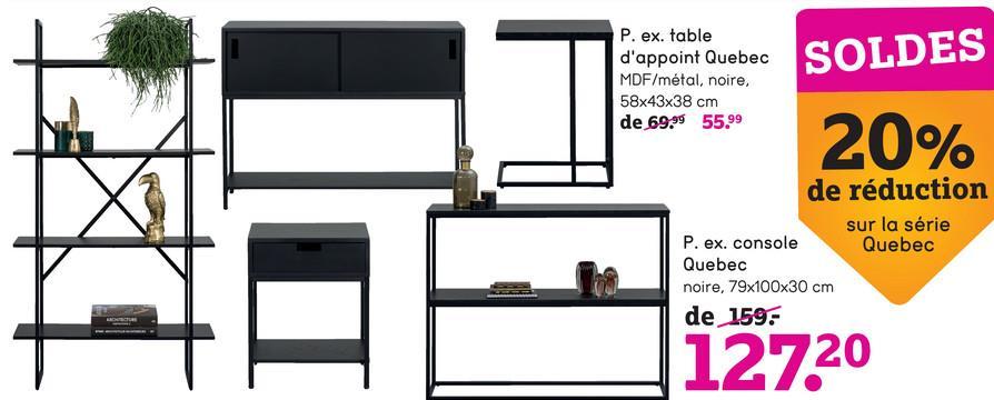 Table d'appoint Quebec - noire - 40x55x40 cm - Leen Bakker La table d'appoint Quebec est une petite table noire faite en métal et bois. Cette table d'appoint rectangulaire moderne a des dimensions de 40x55x40 cm et contient un porte-revues pratique.