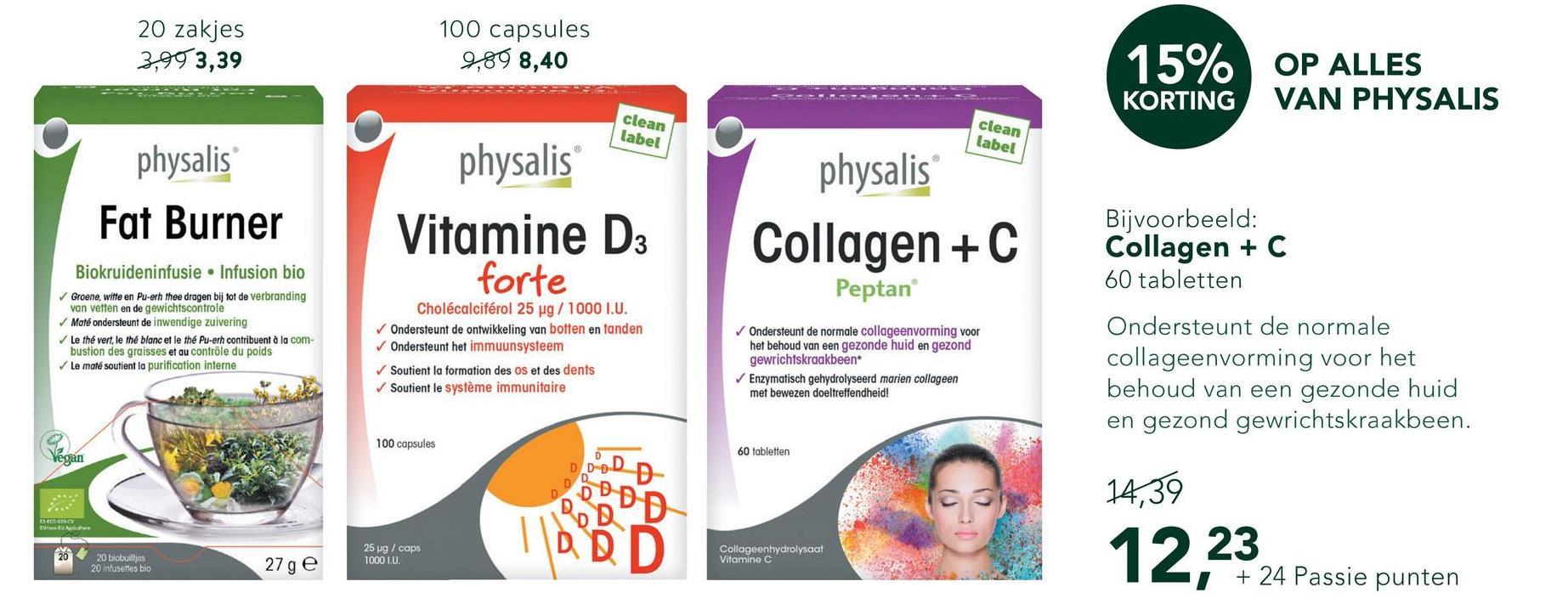 Physalis Collagen + C (60 Tabletten) <ul><li>Gehydrolyseerd collageen (Collageen type I)</li> <li>Gehydrolyseerd collageen wordt sneller door het lichaam opgenomen</li> <li>Van belang voor de vorming van bijna alle soorten bindweefsel zoals botten, tanden en huid </li></ul>  Physalis Collagen + C bevat 1000mg collageen per tablet. Collageen maakt deel uit van het bindweefsel in de huid en zorgt voor elasticiteit en stevigheid van de huid.<br><br>Vitamine C is betrokken bij de vorming van collageen en het beschermt onze gezonde lichaamscellen.