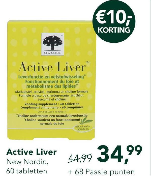 New Nordic Active Liver (30 Tabletten) <ul><li>Combinatie van onder andere mariadistel, artisjok en kurkuma</li> <li>Voor ondersteuning van de lever- en galfunctie</li> <li>Extra goede opname!</li> <li>Slechts 1 tablet per dag!</li></ul>  New Nordic Active Liver bevat een kruidenextractcombinatie die de lever- en galfunctie ondersteunen. Het bestaat onder andere uit mariadistel, artisjok, kurkuma en zwarte peper en elke kruid heeft zijn eigen kracht. <br><br> Mariadistel staat bekend vanwege zijn positieve eigenschappen ter ondersteuning van de reiniging van de lever. Artisjok kan bijdragen tot het normaal functioneren van de lever en de lever helpen zichzelf te herstellen. Artisjok is rijk aan vezels en zuiverende eigenschappen, wat kan helpen bij de gezondheid van de darmen. <br><br>  Kurkuma ondersteunt een gezonde darmfunctie en spijsvertering. Om te zorgen dat je lichaam de kurkuma optimaal opneemt, is er zwarte peper aan het complex toegevoegd. Deze combinatie vergroot de opname van kurkuma.