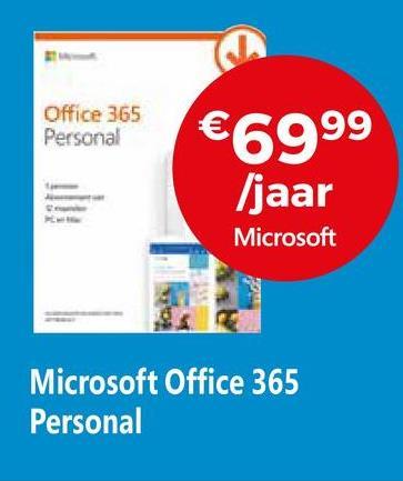Office 365 Personal €6999 /jaar Microsoft Microsoft Office 365 Personal