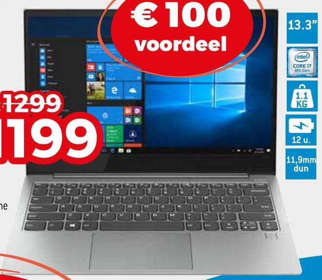 """€ 100 voordeel 13.3"""" (intel CORE 17 Bth Gen 1.1 1299 KG 1199 12 u. 11,9mm dun ne"""