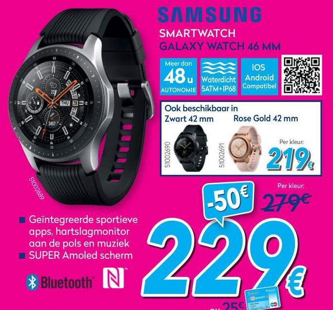 Galaxy Watch Silver (S/L)  Blijf langer verbonden. De functies van een smartwatch gekoppeld aan het natuurlijke gevoel van een analoog horloge. De Galaxy Watch verbindt je met de wereld om je heen.    <strong>Ontwerp</strong>    <strong>De nieuwe definitie van authenticiteit.</strong><br> De Galaxy Watch sluit aan bij jouw lifestyle met een authenticiteit die zichtbaar is in de diverse wijzerplaten met diepte- en lichteffecten. De ronde wijzerplaat, de bewegende wijzers en het tikkende geluid geven het de uitstraling van een echt horloge.    <strong>Jouw horloge, jouw keuze</strong><br> Geef je persoonlijke touch aan je Galaxy Watch. Ga voor een Bluetooth- of standalone LTE-model met een kastdiameter van 42 mm (Midnight Black, Rose Gold) of 46 mm (Silver). Kies daarna een persoonlijk in te stellen wijzerplaat die helemaal aansluit bij jouw lifestyle.    *Diameter, kleur en andere persoonlijk in te stellen opties kunnen per land verschillen. *Beschikbaarheid van het LTE-model kan verschillen per land en provider.    <strong>Kies je eigen stijl</strong><br> Personaliseer je Galaxy Watch met het bandje van jouw voorkeur. Kies een bandje dat past bij je outfit of humeur voor je de deur uitgaat. Ga voor een lichtgewicht siliconen bandje of kies een eigen bandje – de Galaxy Watch met een kastdiameter van 42 mm kan worden gecombineerd met een bandje van 20 mm en op het model van 46 mm past een 22 mm bandje.    <strong>Always On, altijd bij de tijd</strong><br> De Galaxy Watch is een Always On-horloge en je hoeft dus geen knop in te drukken of aan de ring te draaien om de tijd weer te geven. Je kunt het sAMOLED-display instellen op een continue tijdsweergave zodat je dag en nacht ziet hoe laat het is.    *Met de Always On-functie kan het batterijverbruik toenemen.    <strong>Beleving</strong>    <strong>Je continue kameraad</strong>    <strong>Altijd je muziek bij de hand</strong><br> Met de Galaxy Watch LTE reist je muziek met je mee, waar je ook gaat. Als je je muziek onl