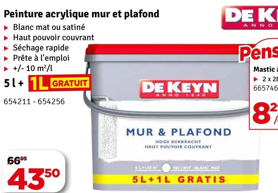 DEK NO Peinture acrylique mur et plafond Blanc mat ou satiné Haut pouvoir couvrant ► Séchage rapide Prête à l'emploi +/- 10 ml Pens GRATUIT Mastic 2 x 28 665746 DE KEYN 654211 - 654256 MUR & PLAFOND HOGE DERKRACHT HAUT POUVOIR COUVRANT 6695 31 M ERLANG MAY 4350 5L + 1L GRATIS